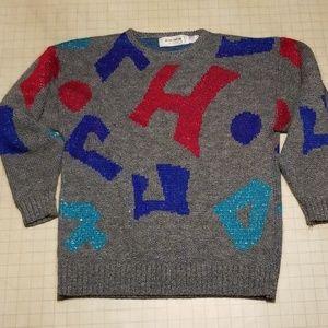 Vintage 80's 90's Geometric Sweater size M